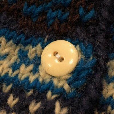 画像4: ディープ ブルー レディース ジャガード織りニットカーディガン 72216(エターナル)