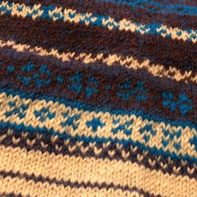 画像5: ディープ ブルー レディース ジャガード織りニットカーディガン 72216(エターナル)