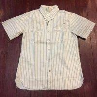 シュガーケーン フィクションロマンス ホワイトウォバッシュ半袖ワークシャツ SC37275