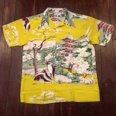 画像1: サンサーフ スペシャルエディション ハワイアンシャツ 「THE PAGODA IN FULL BLOOM」 SS37858  (東洋エンタープライズ)