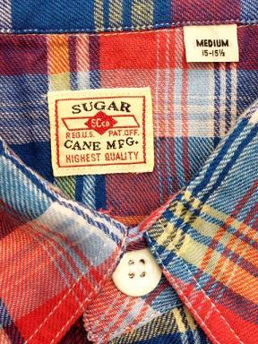シュガーケーンのコットンリネンチェックシャツ